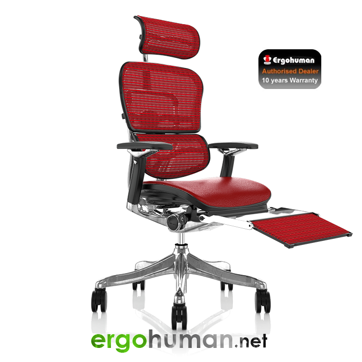 Ergohuman Plus Red Leather Seat with Red Mesh Back and Leg Rest